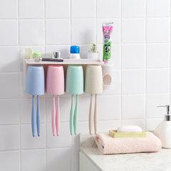 吸壁式牙刷架洗漱套装 无痕贴牙刷架漱口杯牙膏牙刷收纳置物架 带挤牙膏器