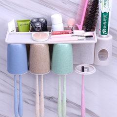 升级款四口幸福之家无痕壁挂小麦秸秆牙刷架漱口杯刷牙杯洗漱套装 二口之家(不带挤牙膏器)