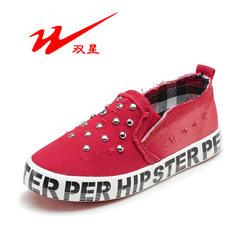 Double star children`s canvas shoes children`s lei Bright red 25 yards