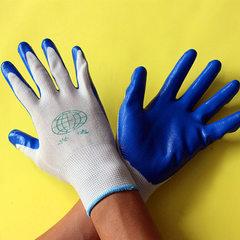 工厂直销兴达蓝色尼龙丁晴手套 工地装卸耐磨浸胶丁腈手套 代发 兴达丁晴手套 均码