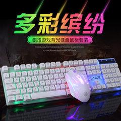 发光键鼠套装电脑机械手感背光键盘鼠标套装USB接口办通家用游戏 白色七彩套装(键盘+鼠标)