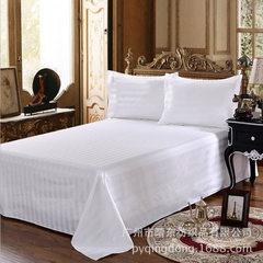 公寓 宾馆床上用品 酒店布草 缎条四件套 特密白色 涤棉床单 白色 160*260