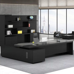 Office furniture boss`s desk is simple, modern and 2.4m * 0.9m left side cabinet