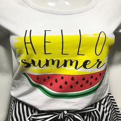 2018新款亲子装夏装全家装母女母子装短袖T恤套装微商一件代发qzz 1809上衣 童90