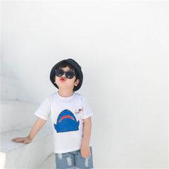 UNIBABY 夏季新款鲨鱼印花短袖T恤 韩版 bf风休闲一家三口亲子装 白色 90cm