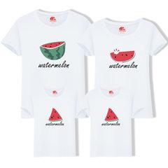 2018亲子装新款原创夏装 一家三口卡通短袖T恤厂家直销 一件代发 白色 男款M