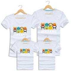 2018小动物新款亲子装短袖T恤一家三口纯棉修身情侣装一件代发 白色 宝宝90码