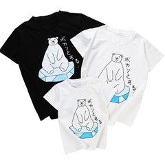 亲子装韩版2018新款潮夏装全家装休闲短袖t恤三口母子母女家庭装 白色日系小熊 100CM