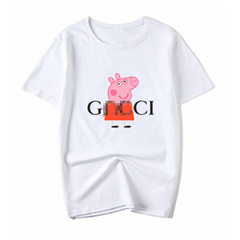 小猪佩奇社会人亲子童装潮牌抖音同款纯棉宽松情侣短袖T恤 GN佩奇白色 S