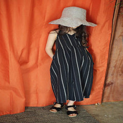 Girls` striped backless halter cotton and linen dr Black stripes s