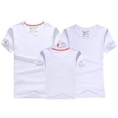 亲子装韩版2018新款潮夏装全家装休闲短袖t恤三口父子母女家庭装 白色 儿童款90