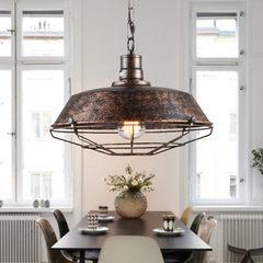 loft工业风复古锅盖吊灯 美式乡村简约客厅餐厅饭厅吧台铁艺单头 黑色