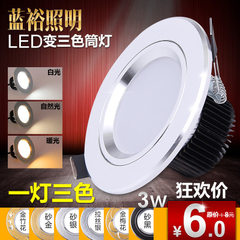 led筒灯3W2.5寸三色变光LED天花灯超薄筒灯天花洞灯 2.5寸3瓦经济款变光