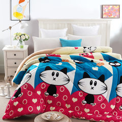 Cartoon 1.5m fleece winter bedclothes thickened an Love meow 150 * 200 4 jins