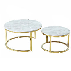 Nordic modern simple gold stainless steel marble t Golden 60 * 60 * 40