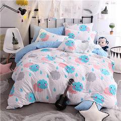 批发水洗棉四件套 ins北欧简约超柔床单被套 时尚床上用品4件套 1.5米【被套150×200cm】