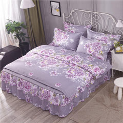 Korean version of bed skirt four-piece bedding set 1.2*2 m bed skirt (cotton sandwich thickening)/1.5*2 m quilt cover