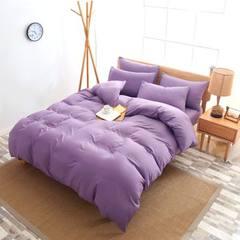 水洗棉四件套超柔纯色单双人床上用品被套床单套件 支持一件代发 被套:150*200床单:180*230枕套:48*74*11.30Kg