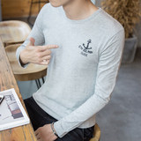 Autumn men's long sleeve t-shirt, cotton round collar, Korean version, self-cultivation, teenager's fashion print, men's bottom shirt and clothes White, black, grey, Sapphire Chinese size