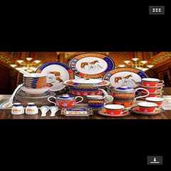 High-grade bone china tableware set bowl plate European Jingdezhen ceramic tableware 86 bowls and dishes creative custom gifts
