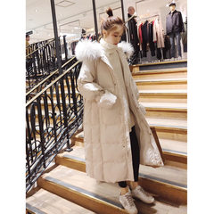 棉服女2018新款冬装 韩版宽松bf长款大毛领棉衣长过膝外套冬加厚 白色 S
