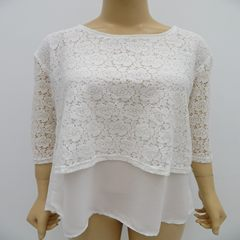 Original single lady pure color 7-sleeve lace jacket, lady double lace jacket white XS