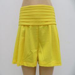 Ladies lace waistband pure color skirt pants, zipper hot pants Pink L