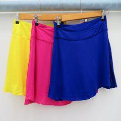 Ultra-thin women's pure-color trousers skirt, side zipper fashion skirt pants blue S