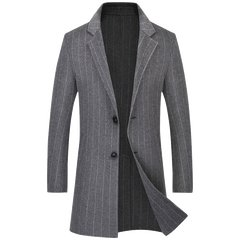 Thickened Men's New Fashion Stripe Cashmere Overcoat in 2018
