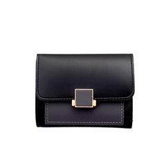 时尚PU女士短款钱包 多卡位卡包 按扣手拿包 粉色 12*1*10cm
