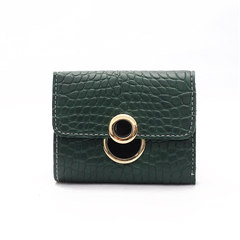 Stone-grain PU lady's short purse fashionable lock-button handbag multi-card bag green 11*2*10cm