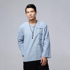 Fall Men's Long Sleeve T-shirt, Ramie Retro Pure Colour Top Milan M