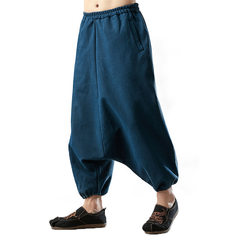 Flax and velvet men's trousers, relaxed men's overalls, leisure trousers, men's support for custom-made martial arts trousers in winter 2018