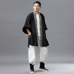 Marfan clothes in autumn and winter 2018 new style Chinese style men's lace shirt cotton jacket men's retro national dress shoulder-to-shoulder plus velvet cotton jacket black Uniform code