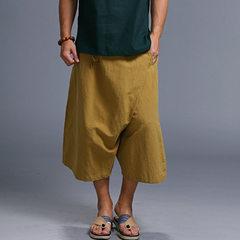 2018原创亚麻民族风灯笼阔腿男士休闲裤 中式文艺男款渔夫裤代发 黑色 均码