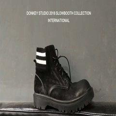 多嘴STUDIO 18年S/A高品质冬季切尔西靴子欧美复古加绒保暖马丁靴 纯黑色 36