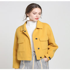 New Korean double-sided cashmere overcoat in autumn and winter of 2018 Small yellow chicken S