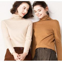 秋冬新款高领打底衫堆堆领纯色套头羊毛针织衫毛衣羊绒上衣 白色 均码