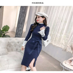 Spring 2019 New Simple Women's Wear Expansion Slim, Body-shaping, Colour-Colouring, Waist-opening, Crotch-bottom Knitted Dresses One Substitute Modified Knitted Dresses This Product Supports Seven Days No Reason for Returning Paulan Average Code