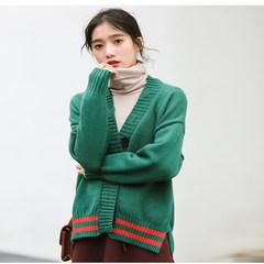 2019春季新款网红女装韩国时尚撞色学院风毛衣开衫外套针织衫 绿色 均码