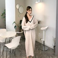 2019春夏新款女装裙大V领显松驰长裙针织连衣裙打底子 附带条件 附带条件
