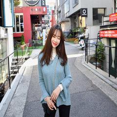 2019春夏新款女装松驰V领叭叭袖毛线打底上衣针组织衫外套 附带条件 附带条件