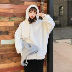 2018秋冬新款白色宽松连帽中长款羊羔毛卫衣外套女加厚上衣F5565 杏色 均码
