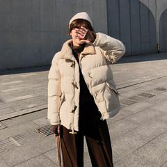 Cotton jacket women's winter 2018 new Korean version of Baitao leisure cattle horn button cute A-shaped cotton jacket F5573 Apricot Uniform code