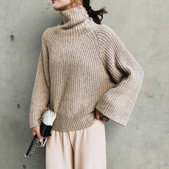 2008 Autumn and Winter Restoration Leisure Thickening, Lazy and Loose High-collar Sweater, Coat, Knitted Shirt F5566 Khaki Uniform code