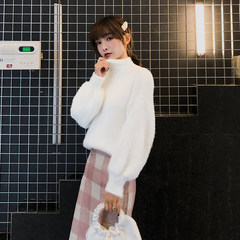 High-collar mohair-like sweater woman 2018 Hong Kong flavor new autumn and winter super-hot net red loose Pullover knitted shirt F5651 white Uniform code