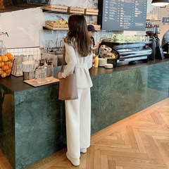 The new Korean version of spring high-collar sweater and waistcoat, three-piece casual suit with high waist and wide legs, F5658 white L