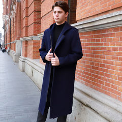 Shanghai beach new wool pure wool winter cap, long and thick cashmere Korean fashion overcoat for men Navy Blue S/165