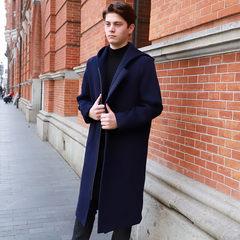 上海滩新款毛呢纯羊毛冬季连帽修身中长款加厚羊绒韩版潮流大衣男 藏青色 S/165