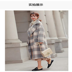 2008 New Korean Version Loose Lattice Slimming Double-sided Cashmere Mid-long Coat Women's Winter Double-row Button Coat Grey-and-white checked long style S